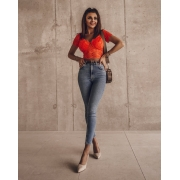 BLUZKA TOP MERLETTO ORANGE