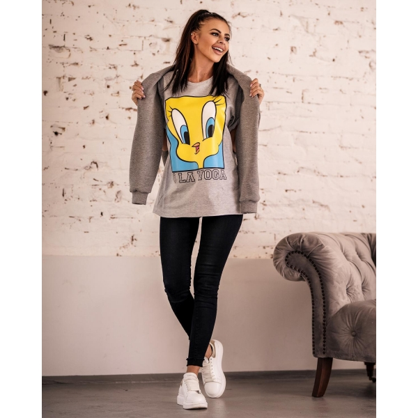 BLUZKA T-SHIRT TWEETY GRAY