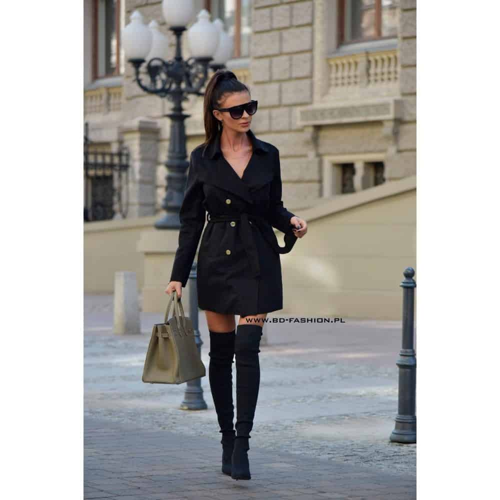 PŁASZCZ TRENCH COAT LONDON BLACK